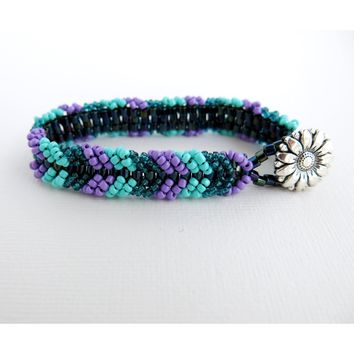 Peacock Chevron Tennis Bracelet - Purple, Turquoise, Blue, Iris - Chevron Tennis Bracelet - Sunflower Button - Glass Seed Bead Woven