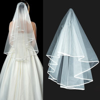 New Wedding Veils Bridal Veil Mantilla Ribbon Edge Batwing Tulle + Comb  D_L = 1946347460