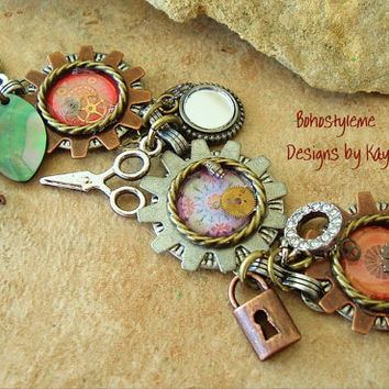 Industrial Chic, Urban Chic, Assemblage, Mixed Media, Altered Art, Steampunk, Charm Bracelet Jewelry, Bohostyleme Designs by Kaye Kraus