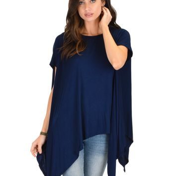 Lyss Loo Somedays Lovin' Comfort Over-sized Draped Navy Tunic Top