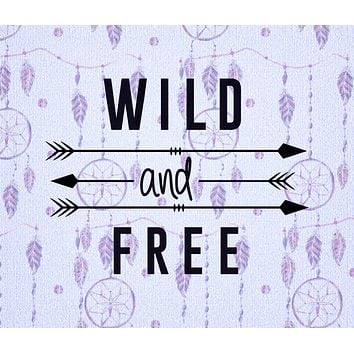 Purple Wild and Free Quote Tapestry Wall Hanging Meditation Yoga Grunge Hippie Wanderlust