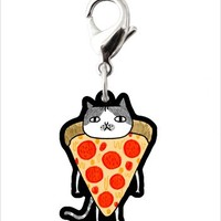 Take-Out Pizza Cat Keychain