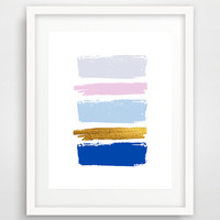 Minimalist art, brush stroke print, art poster, blue abstract art, wall prints, brush strokes, simple prints, modern wall art, home decor