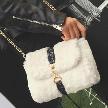women messenger bags winter ccrossbody bag fur bag charm plush clutch handbag fashion