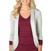 Three-Quarter Sleeve Cozy Sweater with Lace Back and Two Pockets