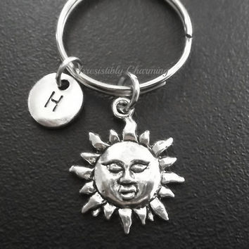 Sale.... Sun keyring, keychain, bag charm, purse charm, monogram personalized custom gifts under 10 item No.699