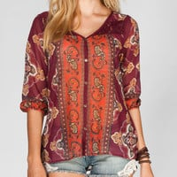 Full Tilt Lace Yoke Womens Peasant Top Burgundy  In Sizes