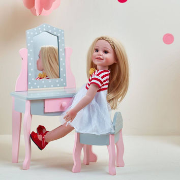 "Olivia's Little World - Polka Dots Princess 18"" Doll Vanity Table & Stool Set - Grey"