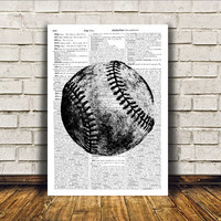 Antique art Baseball print Modern decor Sport poster RTA139