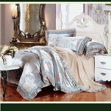 Luxury 6pc. Beige & Blue Embroidered Tribute Silk Cotton Duvet Cover Bedding Set