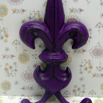 Fleur de lis Cast Iron Passionate Plum Purple Wall Double Hook Ornate French FDL Decor Paris, Shabby Chic Leash Jewelry Cap Bathroom Hooks