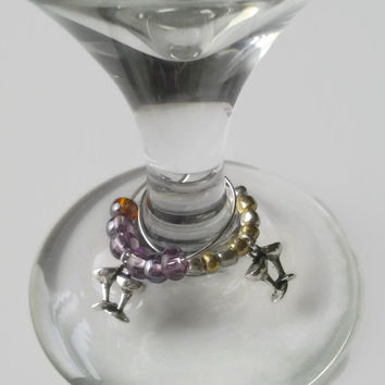 Wine Glass Charms, Martini Class, Champagne Glass, Silver Wine Charms, Kitchen Accessories, Beaded Wine Charms