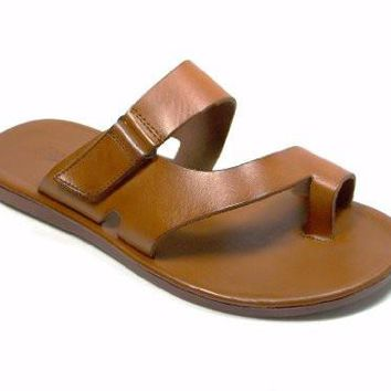 New Men's 52657 Slip On Ring Toe Leather Sandal Cognac