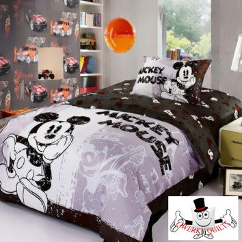 Black White Mickey Mouse Bedding Set and Quilt Cover