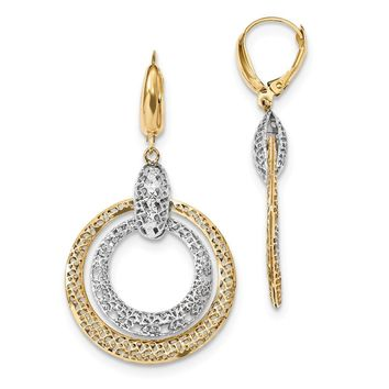 14k Yellow and White Gold Two-tone Polished and Diamond Cut Circle Dangle Leverback Earrings Length 49mm
