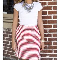 The Night Is Young Red High Waist Striped Skirt
