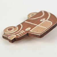 Small stylish handmade brown wooden brooch for children Car