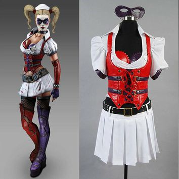 Batman Arkham Asylum City Harley Quinn Cosplay Costume Custom Made