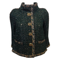 Chanel Dark Green Jacket with Gold Buttons