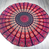 Mandala Round beach throw, mandala Table cover ,Bed throw ,mandala yoga mat ,round beach towel ,hippie,mandala roundie ,