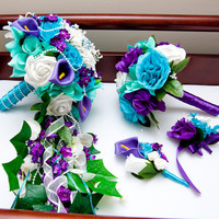 Cascading silk flower bridal wedding bouquet in purple, aqua teal and turquoise, throw bouquet, boutonniere and a corsage wedding set