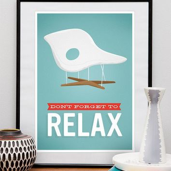"Retro Art, Eames poster, Retro office poster, Mid century modern, Motivational poster print ""dont forget to relax"" A3"