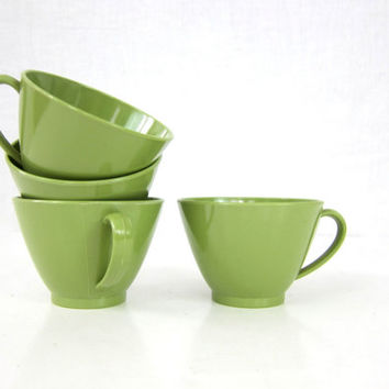 Retro Avacado Green Plastic Tea Cups set of 4 four Small 1960s Coffee Mugs Vintage Kitchen Decor Dishes Louanne's Estate Sale