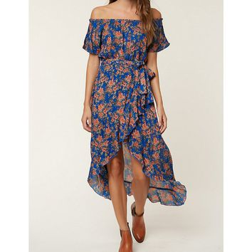 O'Neill Constance Floral Printed Off-The-Shoulder Ruffle Hem Wrap Maxi Dress | Dillards