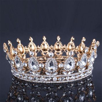 Vintage Baroque Queen King Bride Tiara Crown