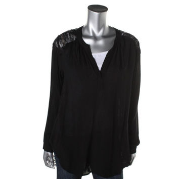 VELVET BY GRAHAM & SPENCER Womens Woven Lace Inset Pullover Top