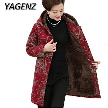 YAGENZ 5XL Middle-aged Winter Women Hooded Jacket Velvet Loose Thick Cotton Coat Single-breasted Mother Print Warm Jacket 2017