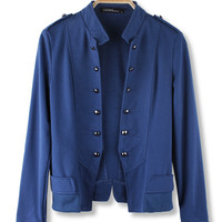 'The Roxanne' Blue Collared Military-Type Coat