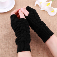 Unisex   Knitted Fingerless  Gloves Soft Warm Mitten sale