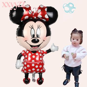 XXYYZZ Minnie Mickey Foil Balloons Red Bowknot Standing Mouse Polka Dot Wedding Birthday Party Decor Supplies Globes Large Size