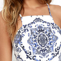 Mosaic Magic Blue and Ivory Print Skater Dress