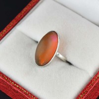 Sterling Silver Vintage Fire Opal Pinky Ring