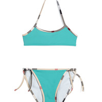 Check-Trim Two-Piece Swim Suit, Aqua Green, Size 4Y-14Y - Burberry