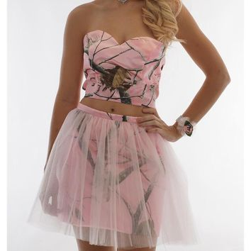 2K17 Prom Dresses Short Pink Floral Camo Dress Custom Made Real Photos Homecoming Party Gown