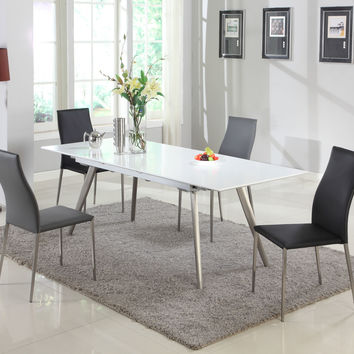 Matte White Glass Extension Dining Table