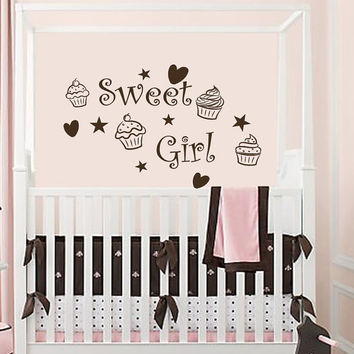 Wall Decals Nursery  Vinyl Decal  Sweet Girl Cupcake Heart Home Wall  Decor Removable Sticker Mural L577 Unique Design Nursery Bed Room