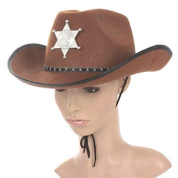 Cowboy Western Wild West Sheriff Hat Fancy Dress Halloween Party Costume