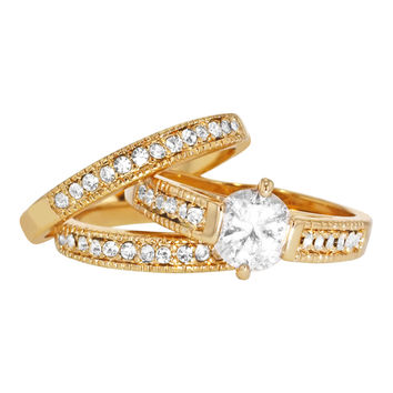 Clear Crystal Gold Tone 3 PIECE Wedding Engagement Ring SZ 8 Lady