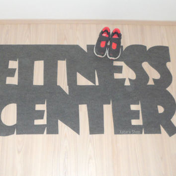 "Gym mat. Personalized rug ""Fitness center""."