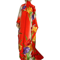 Embroidery Japanese Kimono Furisode, Large Floral Silk Robe