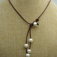 Round pearl,high luster,Leather Pearl Necklace, Pearl Leather Necklace, White Freshwater pearl, Light Brwon Leather Pearl necklace