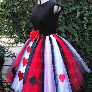 "Queen of Hearts - Adult Teen Pre-teen Costume Tutu - Custom Sewn Tutu - up to 36"" long - For Halloween and Birthday"