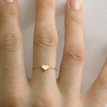 Dainty Minimal 14k Gold plated Heart Chain Ring