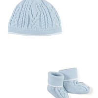 Cotton Baby Hat & Booties, Blue, Size: