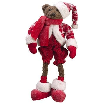 "17"" Table Top Shelf Sitting Knit Suit Brown Bear Winter Christmas Figure"
