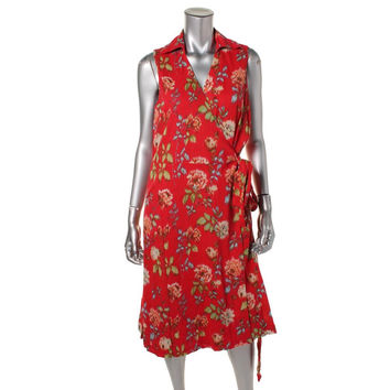 Pendleton Womens Printed Sleeveless Wrap Dress